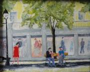 tableau scene de genre magasin vitrine personnages urbain : la conversation