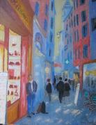 tableau scene de genre nice rue boutiques : début de soirée dans le  vieux Nice