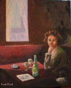 tableau personnages contrejour table de cafe : Contre-jour