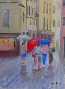 tableau personnages parapluie bergame italie : les parapluie de Bergame
