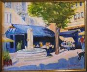tableau scene de genre : brasserie des Arts à Thonon