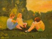 tableau personnages enfants champs : la conversation