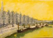 tableau paysages peniches marne maisonsalfort hiver : Maisons-Alfort en hiver