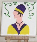 tableau personnages buste profil femme chapeau : le profil jaune