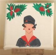 tableau personnages buste femme mode chapeau : buste noir