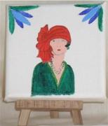 tableau personnages buste femme mode chapeau : le turban rouge