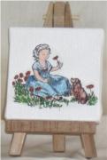 tableau personnages fillette toile de jouy crinoline chien : crinoline bleue