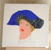 tableau personnages buste chapeau femme mode : chapeau bleu