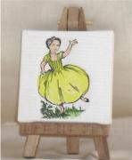 tableau personnages fillette crinoline toile de jouy : crinoline jaune