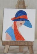 tableau personnages buste chapeau femme mode : 1924 bleu