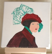 tableau personnages buste femme chapeau mode : tulle vert