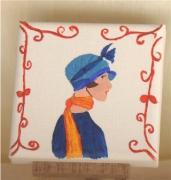 tableau personnages buste femme profil chapeau : profil bleu