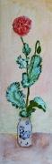 tableau fleurs bouquet vase fleur : le pavot rose