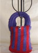 art textile mode autres sac ,a main enfant tricot laine : sac zoreilles rouge et bleu