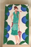 tableau personnages femme mode annees folles 1925 : la dame à l'ombrelle