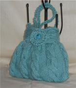 art textile mode autres sac ,a main fillette tricot laine : sac berlingot turquoise