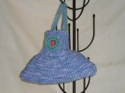 art textile mode autres sac ,a main fillette tricot laine : sac berlingot bleu