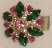 bijoux fleurs bague cristal verre fleur : bague pompadour vert et rose