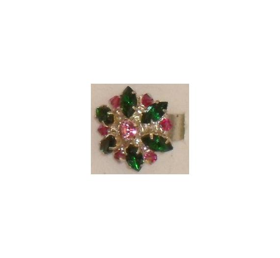 BIJOUX bague cristal verre fleur Fleurs  - bague pompadour vert et rose