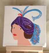 tableau personnages portrait femme chapeau mode : le turban violet