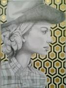 tableau scene de genre femme papier peint chapeau vintage : Fifty's II