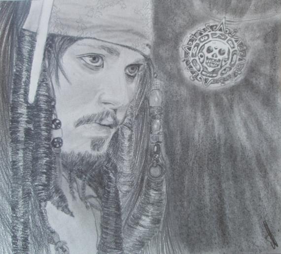 DESSIN johnny deep pirate jack sparrow Personnages Crayon  - jack sparrow