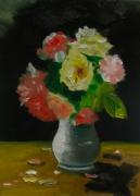 tableau fleurs roses fleurs vase yakushina : Roses du jardin