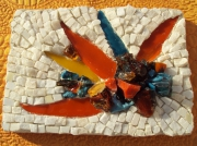 artisanat dart fleurs exotique marbre verre contemporain : strelitzia