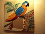 artisanat dart animaux oiseau perroquet exotique faune : Miroir Perroquet