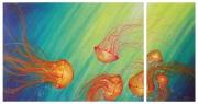 tableau animaux apesanteur meduse eau leger : meduses (VENDU)