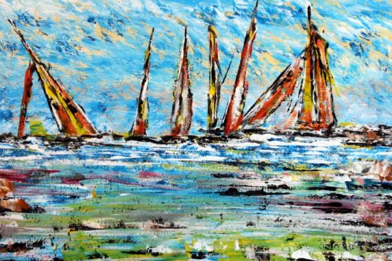 TABLEAU PEINTURE mer voilier vacances bretagne Marine Acrylique  - Bord de mer & voiliers