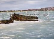 tableau marine mer bateaux acrylique toile : L'épave