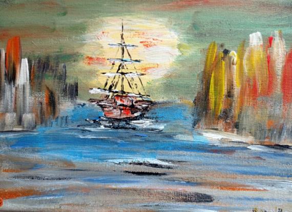 TABLEAU PEINTURE mer bateau voilier Marine Acrylique  - Voilier