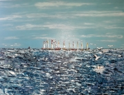 tableau marine bateaux toile mer crylique : Route pêche