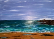 tableau marine mer soleil plage bretagne : Vue du bas Pouldu Guidel