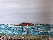 tableau marine mer bleu ile : L'île Percé