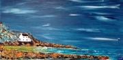 tableau marine peinture acrylique marine mer : La maison au bord de mer