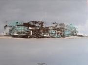 tableau marine mer abstrait bleu acrylique : Ombes et lumières