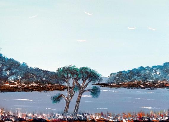 TABLEAU PEINTURE MER PAYSAGE PORT Marine Acrylique  - Le port de Merrien