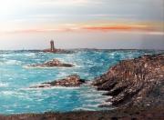 tableau marine mer bateaux bretagne acrylique : Le phare de la Vieille
