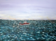tableau marine mer bateaux acrylique toile : Retour de pêche