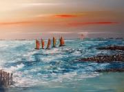 tableau marine mer bateaux acrylique toile : Régate  bord de mer