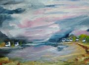 tableau paysages rose bleu outremer maisons bretonnes bords de mer : lumière sur sur la petite crique