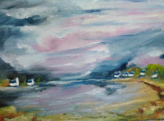TABLEAU PEINTURE rose bleu outremer maisons bretonnes bords de mer Paysages Peinture a l'huile  - lumière sur sur la petite crique