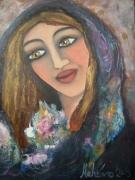tableau : femme aux fleurs
