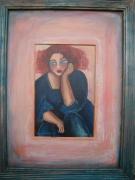 tableau personnages rousse visage robe bleue rose : Femme rousse à la robe bleue
