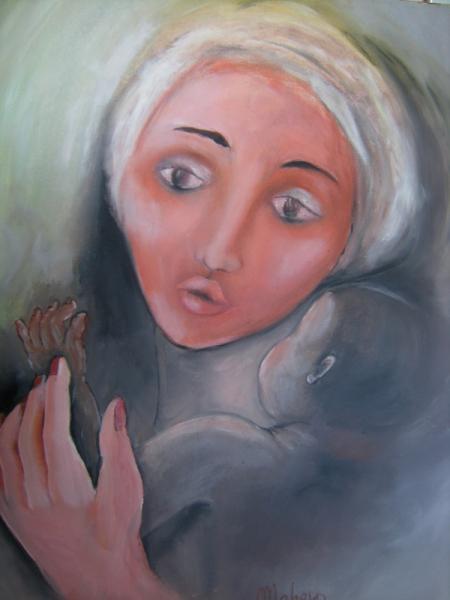 TABLEAU PEINTURE N  - Femme au turban blanc avec enfant