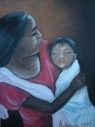 tableau personnages femme laotienne maternite laos : mère et enfant laotiens