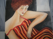 tableau personnages : femme en robe rayée