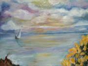 tableau paysages lumiere mer bleu jau lumiere jaune mer : ciel et ajoncs de bretagne